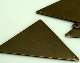 15 pcs 45 x 35 mm antique brass tone triangle tag 2 hole connector charms ,findings 742ABU-38