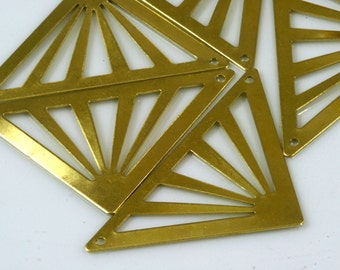 30 Pcs Raw Brass 45 x 28 mm triangle tag 2 hole connector Charms ,Findings 743Rdd