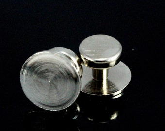 6 pcs  12 x 8 mm nickel plated cufflink brass studs, shirt collar tuxedo stud, industrial 1008