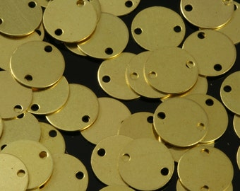 300 Pcs Raw Brass 8 mm Circle tag 2 hole connector Charms ,Findings 76R-58 tmpl