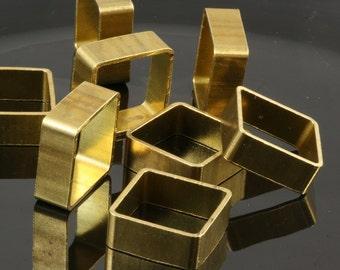 """Square pendant 10 pcs L375 Raw Brass  20x20x8mm 0,79""""x0,79""""x0,314"""" findings 1746"""