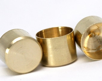 10 pcs 15 X 12,2 mm 14 mm inner raw brass cord  tip ends, ribbon end, ends cap, 1651 Enc14