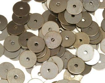 200 Pcs Antique Tone Brass 8 mm Circle tag Charms ,Findings 77AB-38 tmlp
