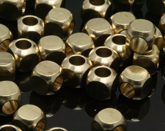 "30 pcs 5 x 5 mm 3/16"" x 3/16""  raw brass square cube finding square cube rod industrial design ( 3 mm 1/8"" 9 gauge hole ) bab3 1009R"