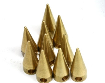 "20 pcs Raw Brass Spike 6x15 mm 1/4"" x 5/8"" finding spacer industrial design (2,5 mm 1/10"" 30 gauge hole ) pendulum 1134R"
