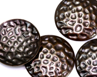 40 Pcs Antique Brass Tone Brass 20 mm textured Circle  cambered Charms ,Findings 695AB-44