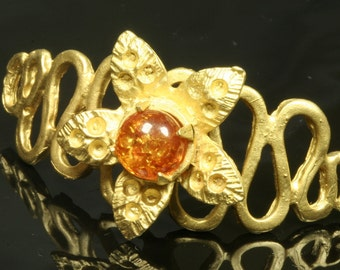 1 pc  45 x 24 mm baltic amber (MM) gold plated brass curve connector charm pendant bracelet 751
