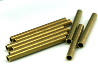 5 Pcs Raw Brass Tube 50 x 5 mm (hole 3,8 mm ) industrial brass Charms,Pendant,Findings spacer bead