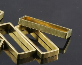 "rectangle pendant 6 pcs L13 Raw Brass  30 x 10 x 3 mm 1,18"" x 0,39"" x 0,12""  finding industrial design 1554"