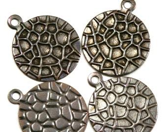 brass circle textured 100 pcs 16 mm antique brass  charms ,antique brass  pendant. antique brass findings 128AB-70