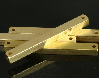 """Raw brass bar connector square stamping 4 pcs 5x50mm 3/16""""x2""""  2 hole square rod (2mm 5/64"""" 12 gauge hole ) sbl550-1092W"""