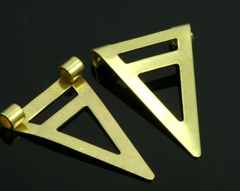 60 pcs 16x25 mm raw brass triangle pendant 2 ( hole 2,5 mm 10 gauge ) raw brass connector charms ,raw brass findings 936R-40