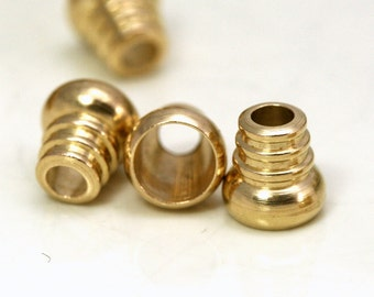 15 pcs raw brass 8 x  8 mm (hole 6 mm 3.2 mm) industrial brass Charms, end caps cord ENC6 1323R