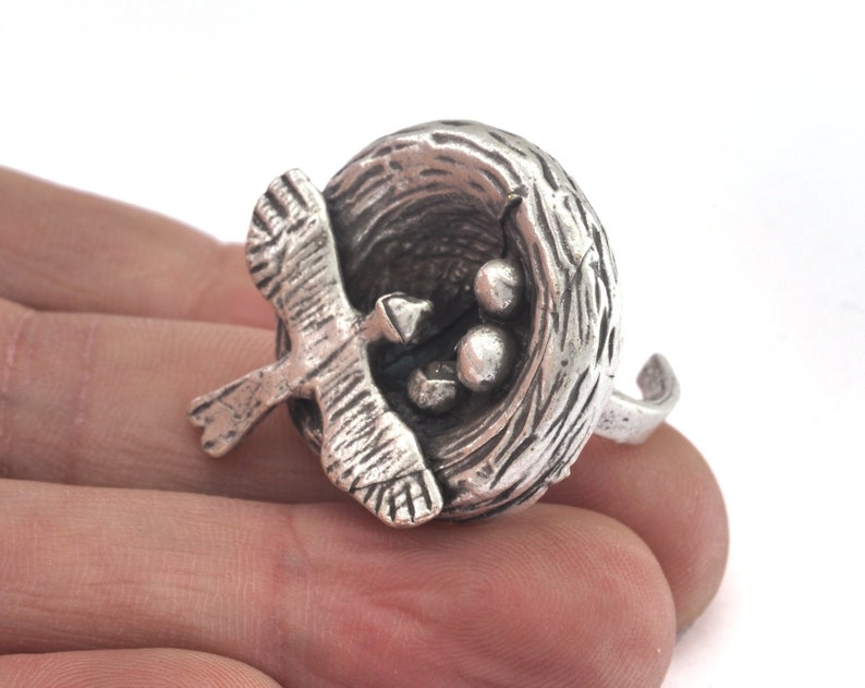 18mm 8US inner size OZ2737 Bird Nest Ring Adjustable Ring Antique Silver plated brass