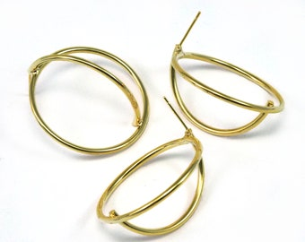 Earring Stud posts half wire sphere 35mm Gold plated brass 2152