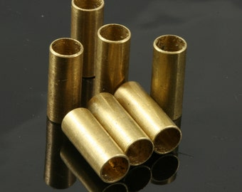 10 pcs 6 x 15  mm (hole 5 mm ) raw brass tube industrial brass charms, findings spacer bead ttt615