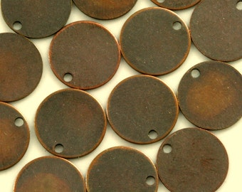 100 pcs antique copper tone brass 12 mm circle tag charms, findings 68AC-44