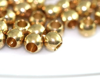 50 pcs 4 mm (hole12 gauge 2mm) raw solid brass spacer bead , findings bab2 1456