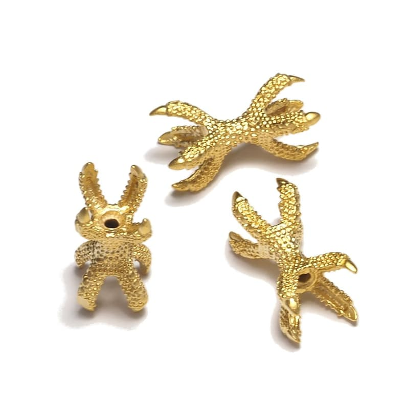 8mm bead gold plated brass Claws spacer bead holder for bab2 OZ386 hole 2mm