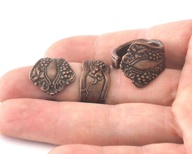 Spoon Ring Flower Patterned Adjustable Ring Antique Copper Plated Brass 17.5mm 7US inner size OZ2683