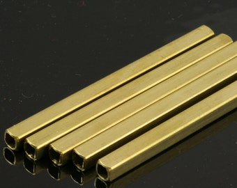 Raw Brass Square Tube 20 Pcs 75 x 5 mm (hole 3,6 mm) industrial brass Charms,Pendant,Findings 1620