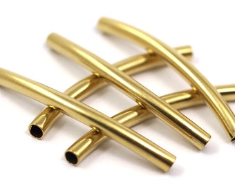 10 Pcs Raw Brass Curved Tube 42x3.5mm (hole 2.8mm) industrial brass Charms,Pendant,Findings spacer bead E4235C90