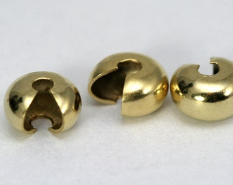 20 pcs 7 mm gold plated brass crimp cover, Bead Crimps End Cap, Finding,  1339G-7-6 CB