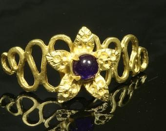 1 pc  45 x 24 mm purple quartzite gold plated brass curve connector charm pendant bracelet 751
