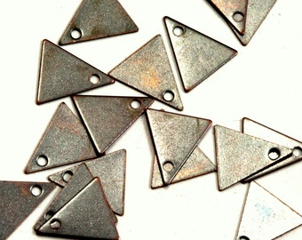 150 Pcs Antique Tone Brass 10x9 mm Triangle tag Charms ,Findings 424AB-26