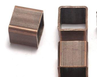 Copper tone brass cube 15 x 15 mm (hole 13 mm) bab12 1418