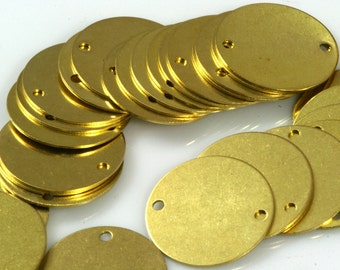 Circle tag 2 hole connector Charms Raw Brass 16 mm ,Findings 65R-84