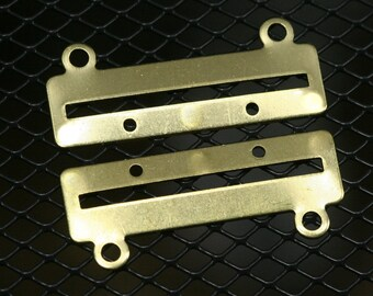 30 pcs 35 x 14 x 0.8 mm raw brass bracelet part 2 hole 1353R2C RBBP ( stamping )