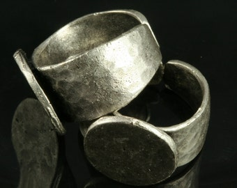 1 pc Silver plated Brass Adjustable hammered ring with 15 mm base setting 500