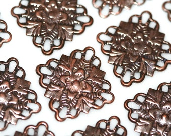 60 Pcs Antique Copper Tone Brass 15 mm Square filigree connector Charms ,Findings 414AC-32