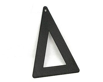 10 pcs 50x33 mm black painted brass triangle tag 1 hole connector raw brass charms ,raw brass findings 795B