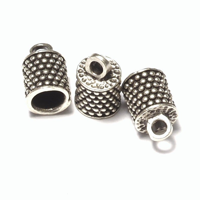 10X6.3mm 4.2mm inner with loop silver plated brass cord  tip ends ends cap ENC4 1584R