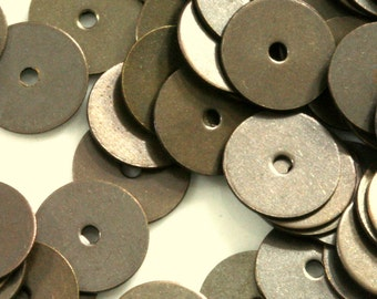 middle hole charms 120 pcs antique brass tone brass 10 mm circle tag , findings 73AB-40