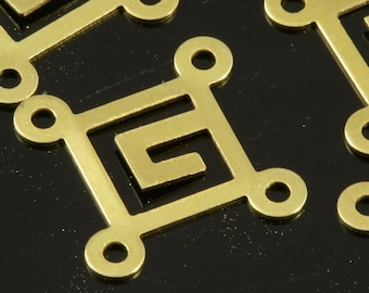 4 hole connector 150 Pcs Raw Brass 14 mm Square tag four Charms ,Findings 446R-51