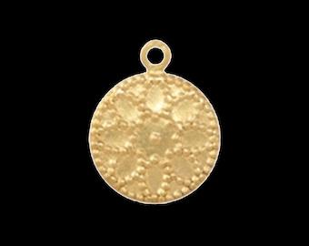 400 pcs 13 mm raw brass circle textured , raw brass  charms ,raw brass  pendant. raw brass findings 136R-240
