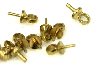 100 pcs upeyes screw eyes, Cup, gold tone brass, 6 x 3 mm with 1.5 mm hole peg 1249GT tmlp