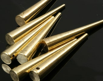 "5 pcs Raw Brass Long Spike 7x39 mm 9/32"" x 1 9/16"" finding spacer industrial design (1,5 mm 1/16"" 15 gauge hole ) R1141"