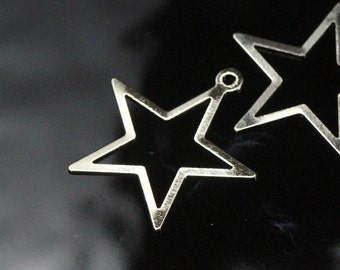 100 pcs 24x23 mm nickel plated brass star charms, findings 494N-40