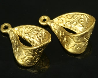 2 pcs 25 mm Gold plated brass brass Charm Hanger HOLDER 241