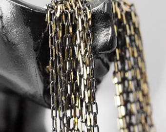Brass soldered chain 10 meter 33 feet 2,5 x 6 mm Gold tone and black