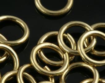 Open jump ring 8 mm 17 gauge( 1,2 mm ) raw brass jumpring 817JR-20 1164R