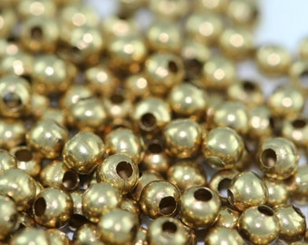 400 pcs 2 mm 22 gauge 0.6 mm hole Raw Brass Spacer Bead , Findings bab1 1808