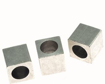 """10 pcs 10 x 10 mm 3/8"""" x 3/8""""  silver plated brass square cube,(6.5 mm 1/4"""" hole ) bab6 1483"""