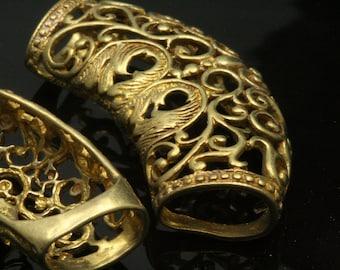 1 pc raw brass filigree shape 46 mm pendant finding holder