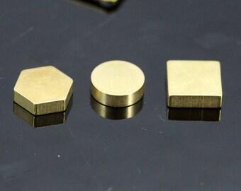 stamping hexagonal round square raw brass 10x3mm 1857
