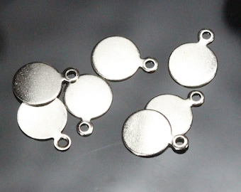 150 pcs 8 mm nickel plated brass circle tag charms, findings 94N-30